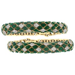 David Webb Green Enamel Diamond 18 Karat Gold Snake Two Bracelets Set
