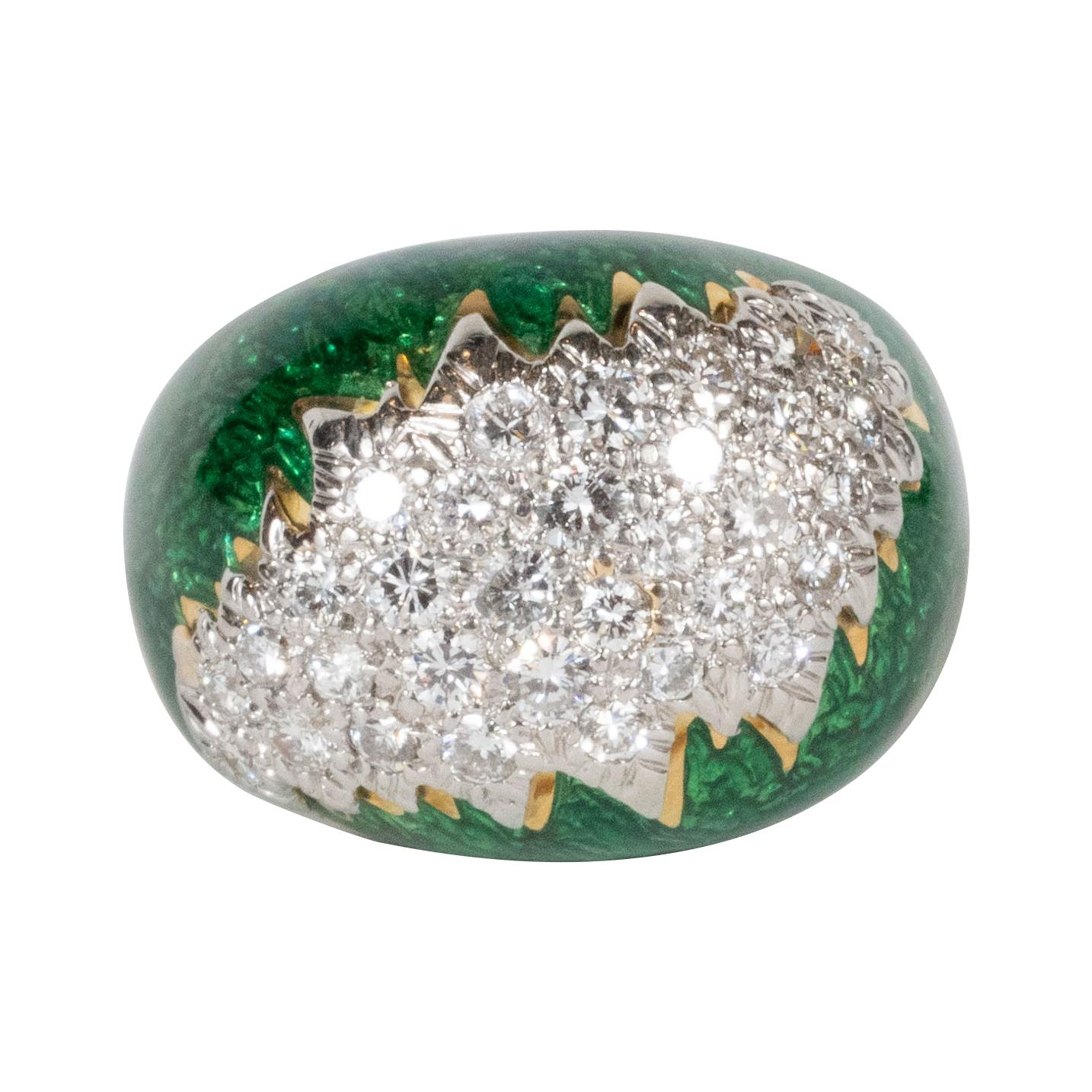 David Webb Green Enamel, Diamond, Gold and Platinum Ring