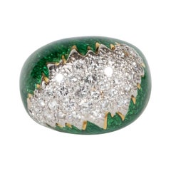 David Webb Green Enamel, Diamond, Gold and Platinum Ring