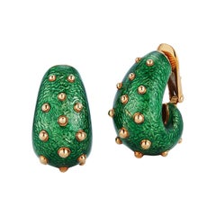 David Webb Green Enamel Earrings