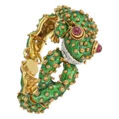 David Webb Green Enamel Frog Bracelet