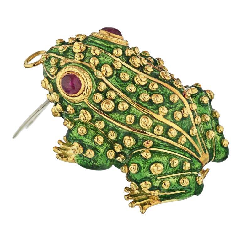 David Webb Green Enamel Frog Pin Brooch