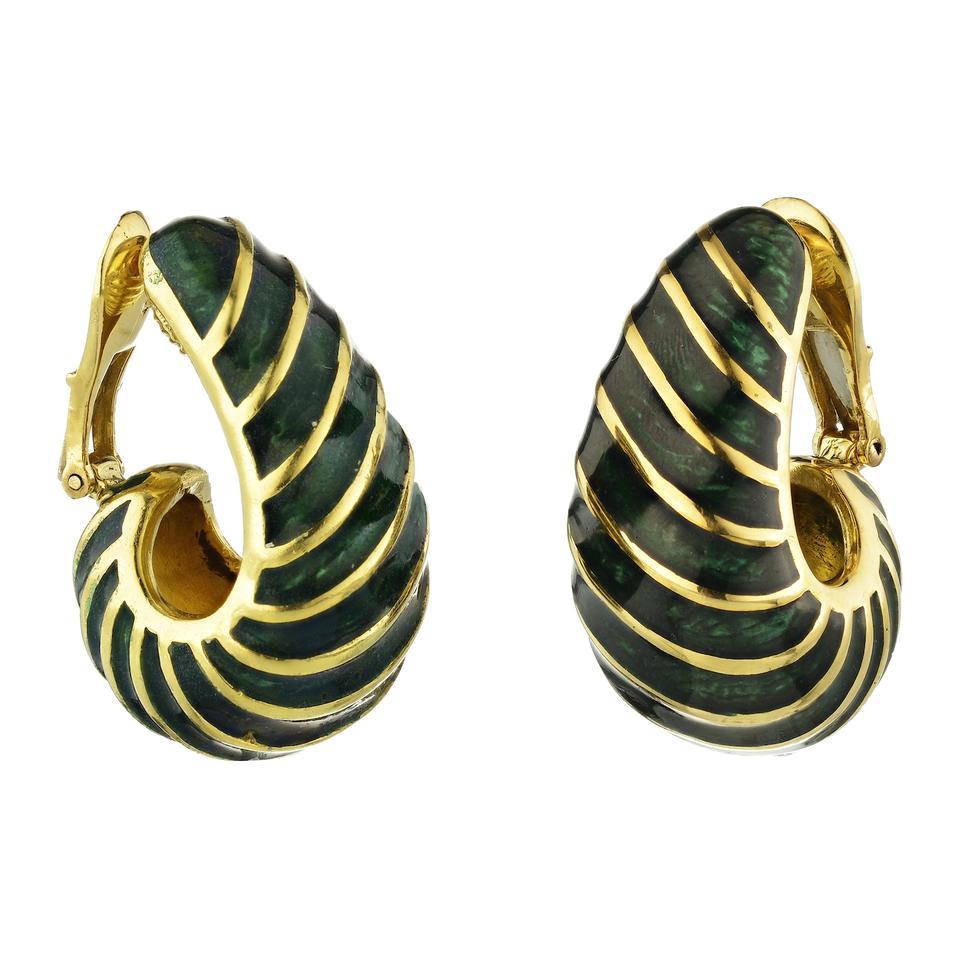 David Webb Green Enamel Gold Half Hoop 18 Karat Yellow Earrings