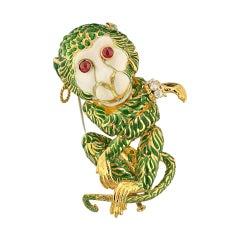 David Webb Green Enamel Gypsy Monkey Brooch Pin