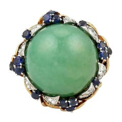 David Webb Green Jade Cabochon with Sapphires and Diamonds Ring