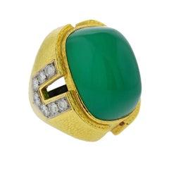 David Webb Green Onyx Diamond Platinum Gold Cocktail Ring