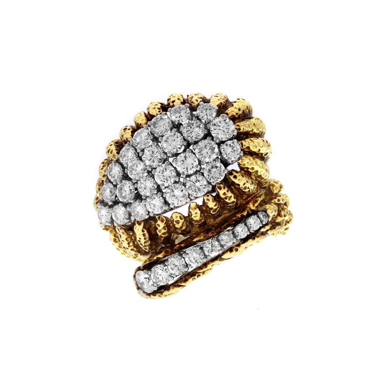 IF YOU ARE REALLY INTERESTED, CONTACT US WITH ANY REASONABLE OFFER. WE WILL TRY OUR BEST TO MAKE YOU HAPPY!  18K Yellow Gold and Platinum Ring with Diamonds by David Webb  This stunning ring comes with the David Webb