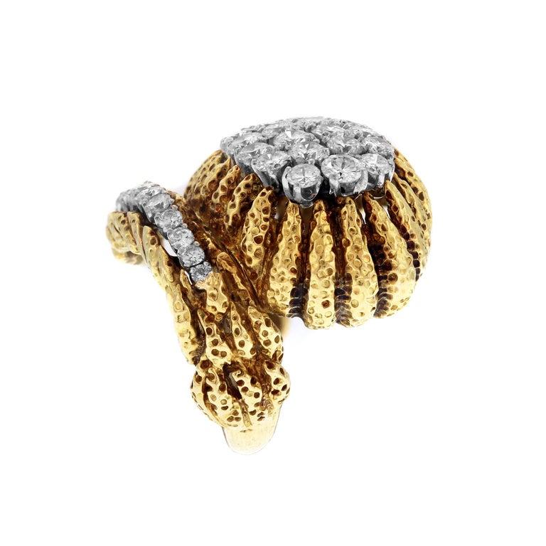 Round Cut David Webb Hammered Gold and Platinum Diamond Ring
