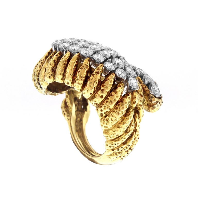 David Webb Hammered Gold and Platinum Diamond Ring In Excellent Condition In Boca Raton, FL