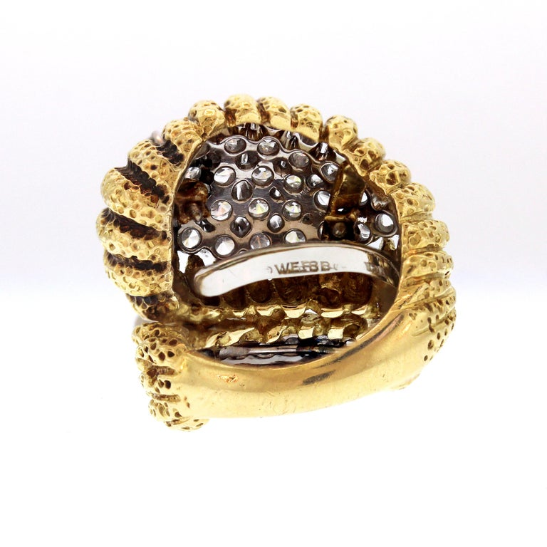 Women's David Webb Hammered Gold and Platinum Diamond Ring