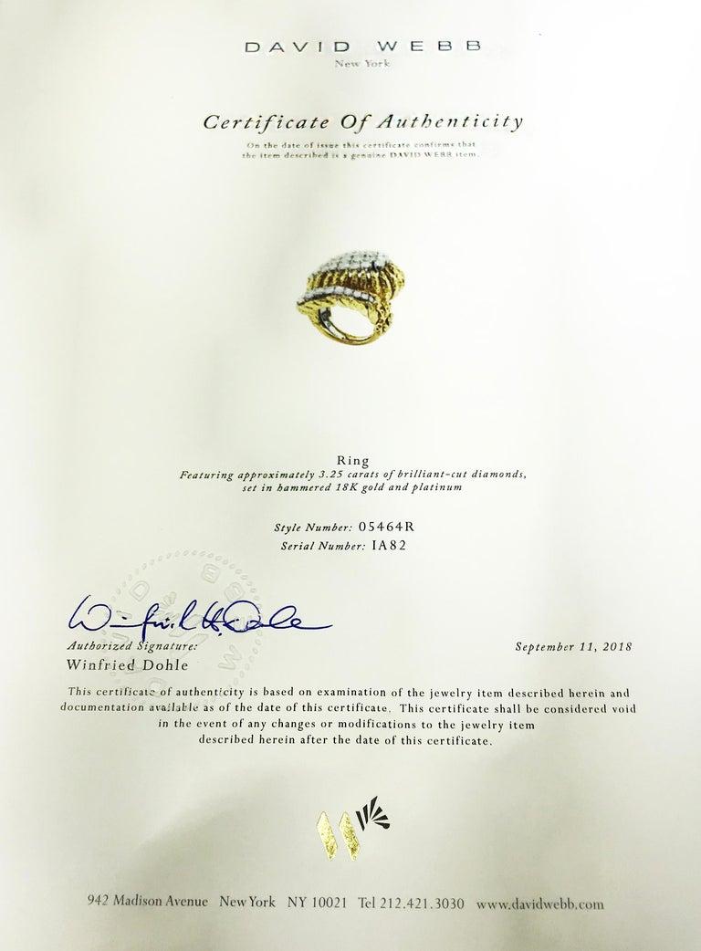 David Webb Hammered Gold and Platinum Diamond Ring 1