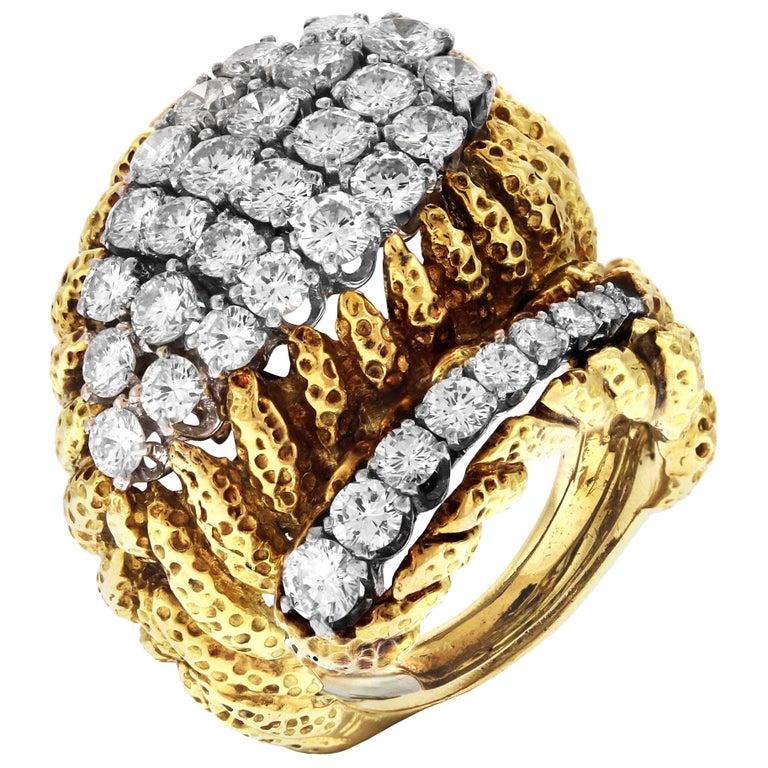 David Webb Hammered Gold and Platinum Diamond Ring