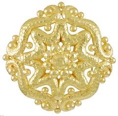 David Webb Hammered Gold Brooch Pendant