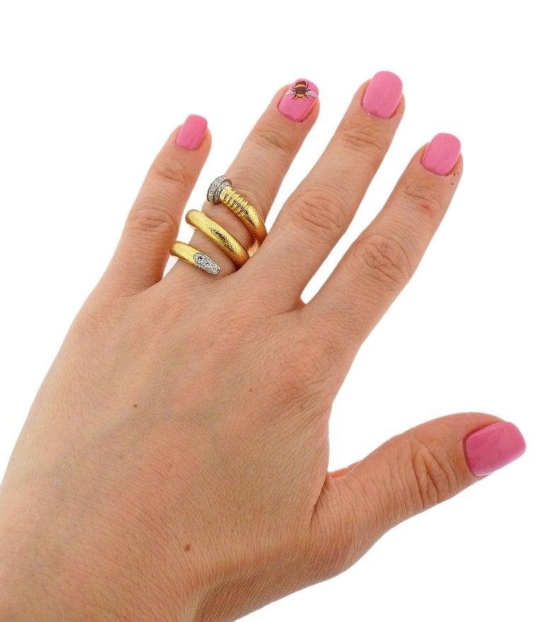 David Webb Hammered Gold Platinum Diamond Nail Wrap Ring For Sale 1