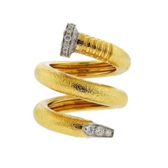 David Webb Hammered Gold Platinum Diamond Nail Wrap Ring