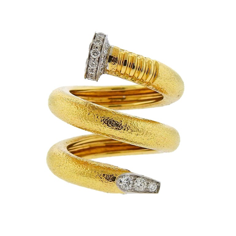 David Webb Hammered Gold Platinum Diamond Nail Wrap Ring For Sale