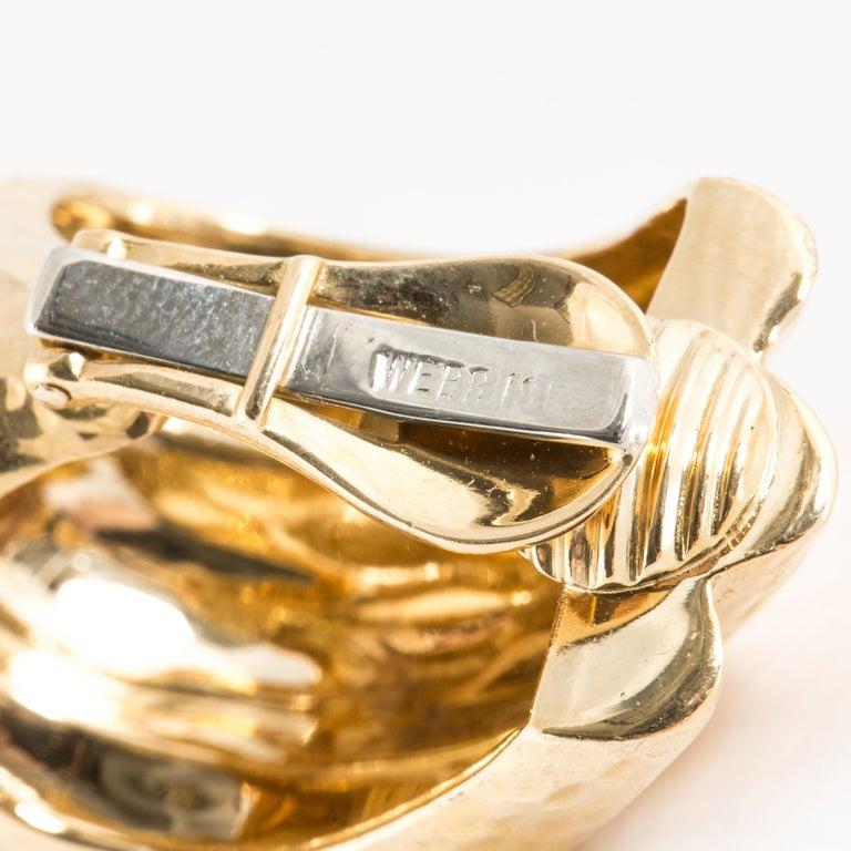 Women's David Webb Hammered Gold Semi Hoop Earrings For Sale