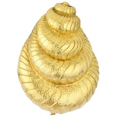 David Webb Hammered Gold Shell Brooch