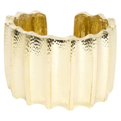 David Webb Hammered Ridged Cuff in 18 Karat Yellow Gold