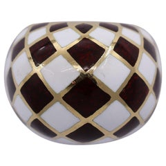 David Webb Harlequin Gold and Enamel Dome Ring