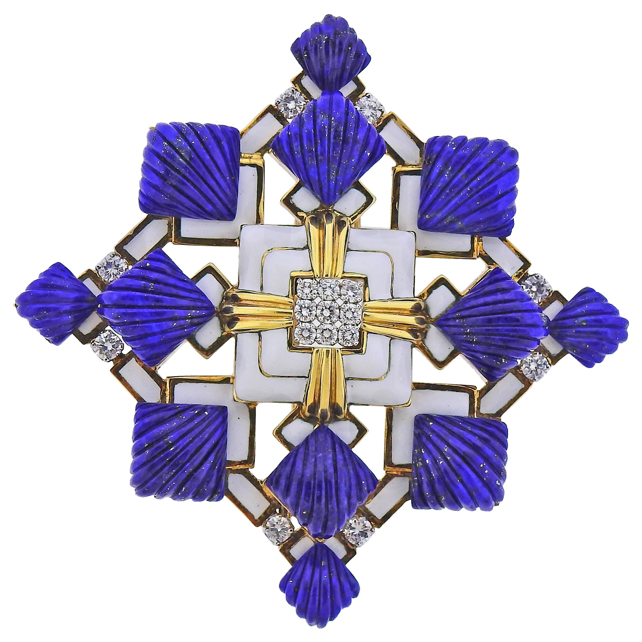 David Webb Heraldic Lapis Diamond Enamel Gold Platinum Brooch Pendant