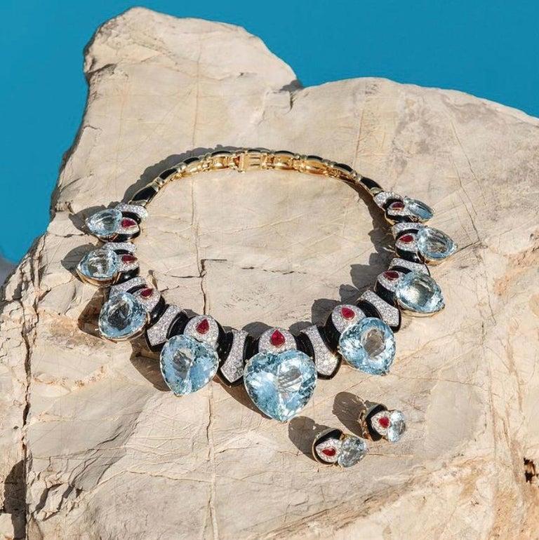 Women's David Webb Important Aquamarine Heart Necklace Earrings Set For Sale
