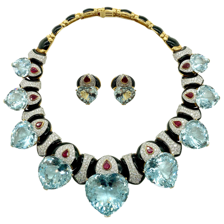 David Webb Important Aquamarine Heart Necklace Earrings Set