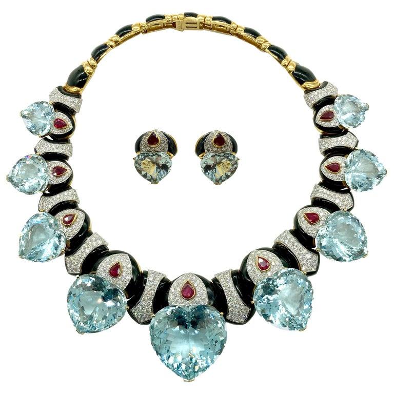 David Webb Important Aquamarine Heart Necklace Earrings Set For Sale