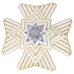 David Webb Important Vintage Maltese Crosee White Enamel Pin/Pendant Brooch