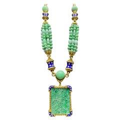 David Webb Jade, Diamond and Enamel Necklace