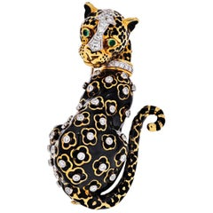 David Webb Leopard Black Enamel Vintage Brooch