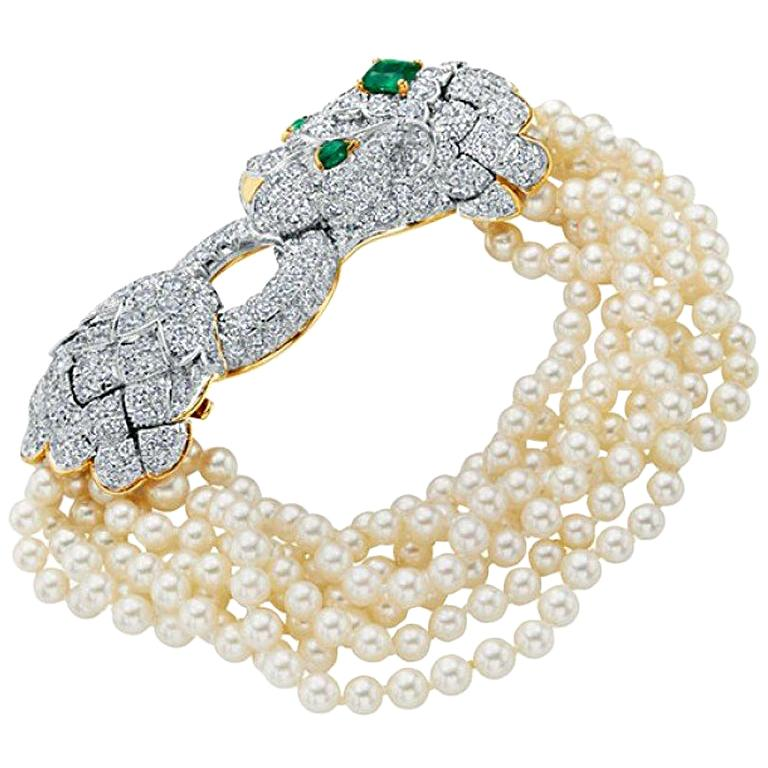 David Webb Lion Diamond and Pearl Strand Bracelet and Brooch For Sale