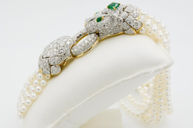 David Webb Lion Diamond and Pearl Strand Bracelet and Brooch For Sale 4