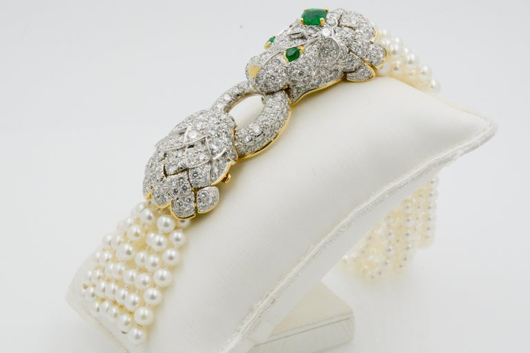 David Webb Lion Diamond and Pearl Strand Bracelet and Brooch For Sale 5