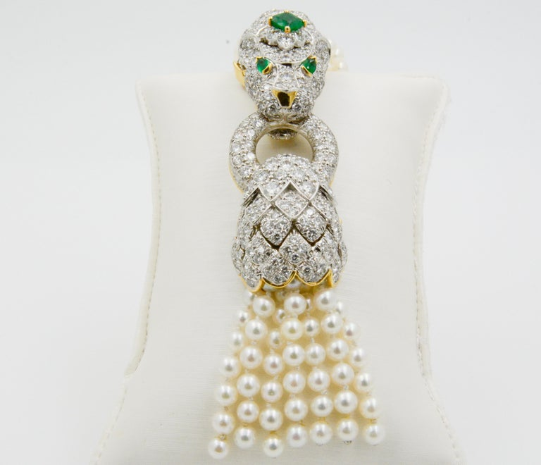 David Webb Lion Diamond and Pearl Strand Bracelet and Brooch For Sale 6