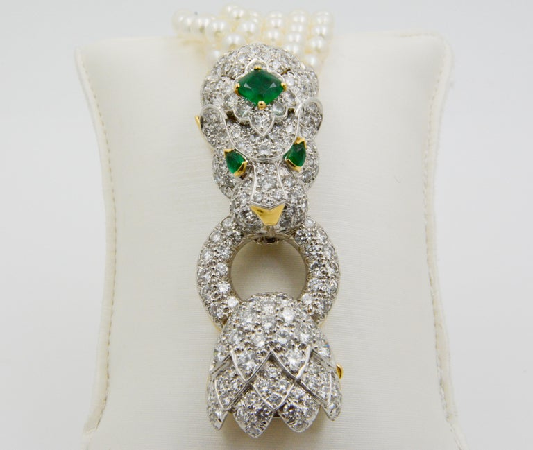 David Webb Lion Diamond and Pearl Strand Bracelet and Brooch For Sale 7