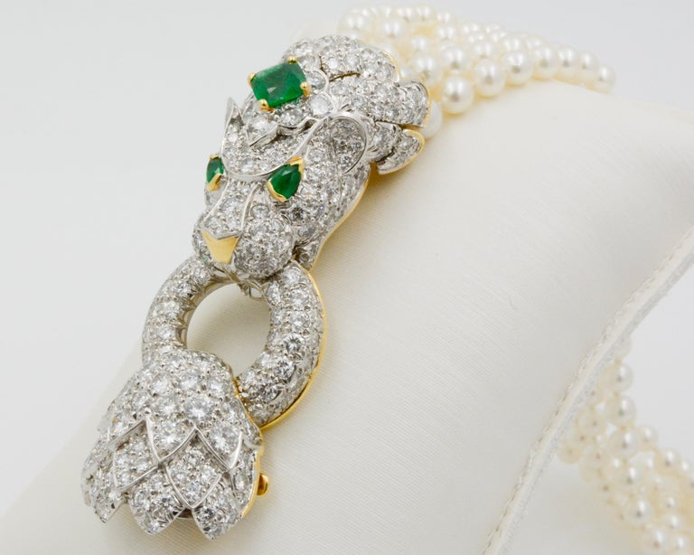 David Webb Lion Diamond and Pearl Strand Bracelet and Brooch For Sale 8