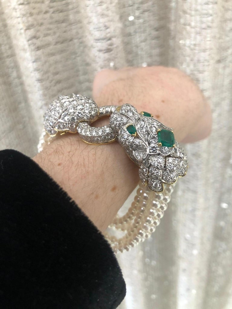 David Webb Lion Diamond and Pearl Strand Bracelet and Brooch For Sale 13