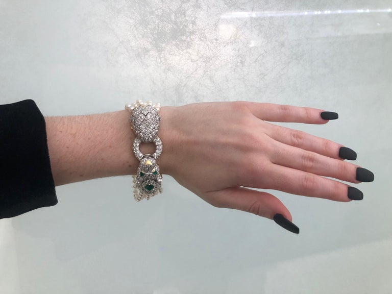 David Webb Lion Diamond and Pearl Strand Bracelet and Brooch For Sale 14