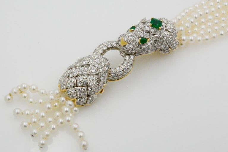 Round Cut David Webb Lion Diamond and Pearl Strand Bracelet and Brooch For Sale
