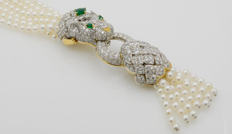 David Webb Lion Diamond and Pearl Strand Bracelet and Brooch In Excellent Condition For Sale In Dallas, TX
