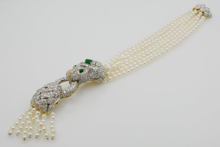 Women's David Webb Lion Diamond and Pearl Strand Bracelet and Brooch For Sale