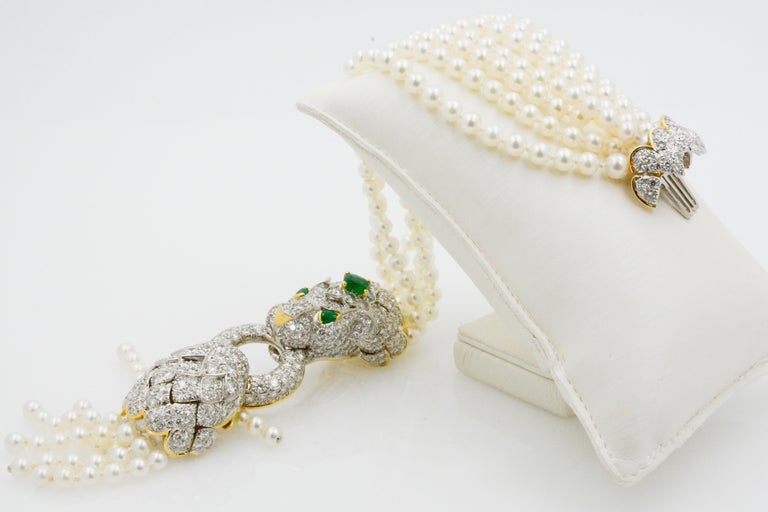 David Webb Lion Diamond and Pearl Strand Bracelet and Brooch For Sale 1