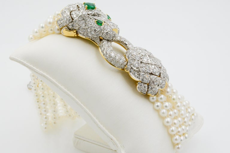 David Webb Lion Diamond and Pearl Strand Bracelet and Brooch For Sale 2