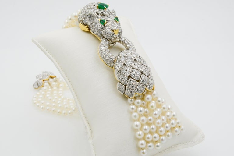 David Webb Lion Diamond and Pearl Strand Bracelet and Brooch For Sale 3