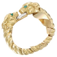 David Webb Lion Emerald Diamond & Gold Bracelet