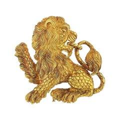 David Webb Lion Vintage Brooch