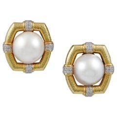 David Webb Mabe Pearl and Diamond Earrings