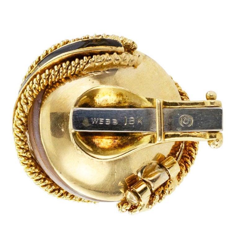David Webb Mabe Pearl Black Enamel Gold Ear Clips For Sale 1