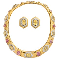 David Webb Magnificent Multi Sapphire Diamond Gold Necklace and Earrings Set